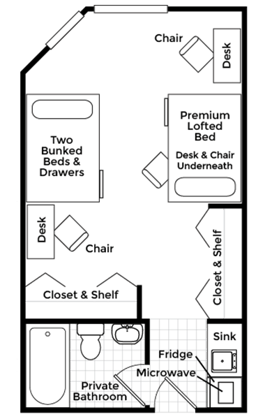 Triple Suite With Attached Bath Floor Plan