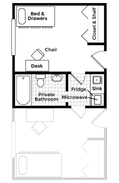 Studio Apartment With Shared Bath Floor Plan