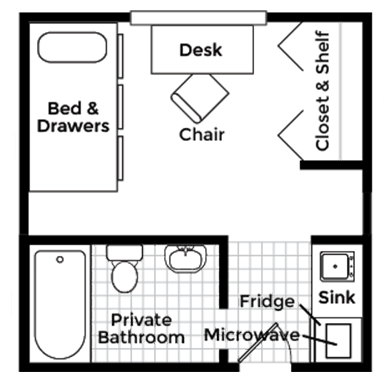 Studio Apartment With Private Bath Floor Plan