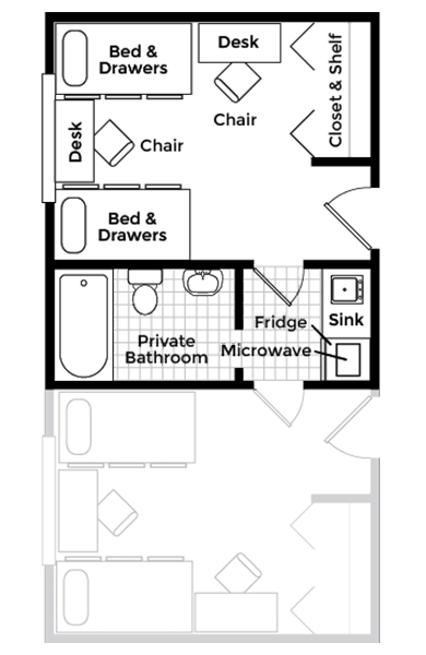 Shared Bath Double Floor Plan